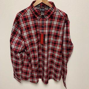 NEW Chaps Red Plaid Button Down Dress Shirt XXL